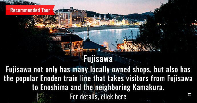 Fujisawa Fujisawa not only has many locally owned shops, but also has the popular Enoden train line that takes visitors from Fujisawa to Enoshima and the neighboring Kamakura.