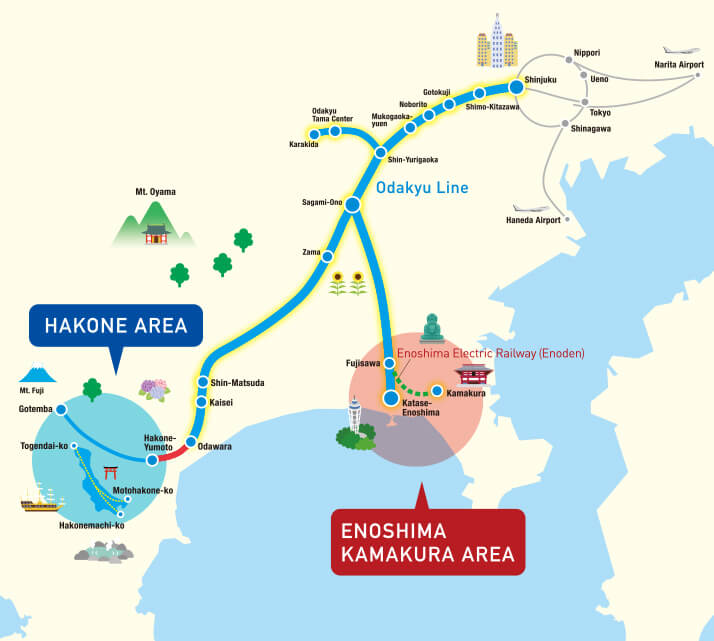 Map of Hakone and Enoshima-Kamakura Area